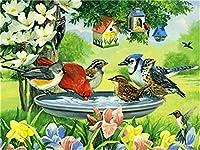 デジタル絵画鳥の花DIY油絵 数字キットによる絵画使用するブラシとアクリル顔料アートの家の装飾 40x50cm (フレームレス)