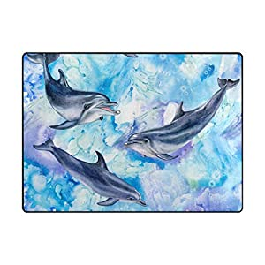 La Random Large Soft Rug 80×58 Inches Sea Blue Dolphins Non-Skid Lightweight Kids Nursery Yoga Rugs Play Mat for Living Room Bedroom Floor Mats