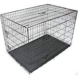 Gr8 Home Pet Cage Metal Dog Cat Puppy Training Folding Crate Vet Animal Transport Carrier With Tray Handle Black[42 Inch]