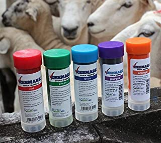 CEEMARK Livestock Marker Crayon by Rurtec, New Zealand (10 Pack; 2 x Orange, Green, Red, Blue & now Fluoro Pink NOT Purple)