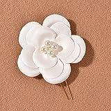 lefeindgdi 3 horquillas en forma de U de flores blancas, perlas elegantes para el pelo, accesorios para la joyería del cabello para las mujeres de boda