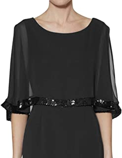 Chiffon Shawls and Wraps for Evening Formal Dresses Bridal Party Wedding Cape Cover Up with Sequins