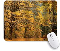 KAPANOU マウスパッド、イチョウ現代の森のベンチの葉自然の葉 おしゃれ 耐久性が良い 滑り止めゴム底 ゲーミングなど適用 マウス 用ノートブックコンピュータマウスマット