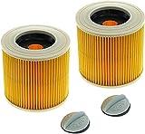 Voarge 2Pcs Filtro de Cartucho para Kärcher Aspiradora en Húmedo y Seco , reemplazo de Filtro de Aire para Kärcher A2004 A2054 A2204 A2656 WD2.250 WD3.200 WD3.300 Aspiradora en seco y húmedo