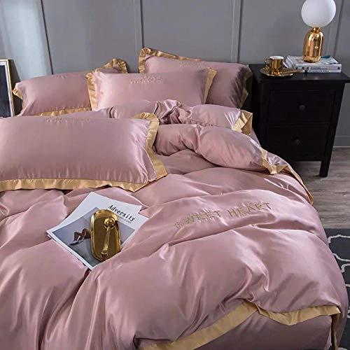 Bedding-LZ Juegos de sábanas de 90,La Seda de Hielo de Verano es Ropa de Cama para Dormir, Funda de Cama de Cuatro Piezas, Color sólido, edredón Doble Individual-R_Cama de 1,5 m (4 Piezas)