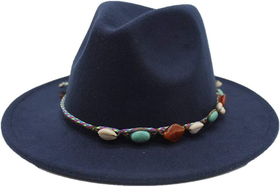 ZLQQLZ Women Cap 2019 Men Women Fedora Hat Wool Leather Braided Rope Turquoise Boho Jazz Church Godfather Wide-Brimmed Hat (Color : Navy Blue, Size : 56-58CM)