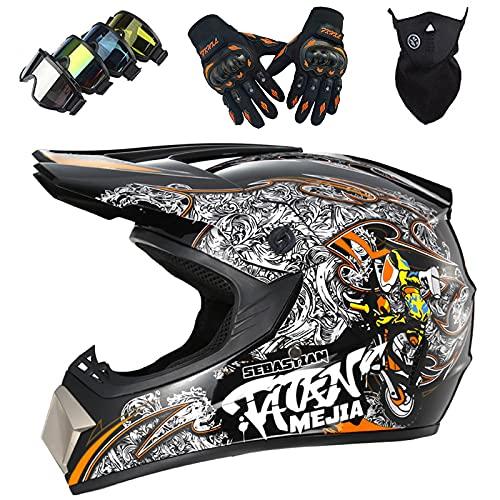 Casco Moto Niños, MJH-01 Casco de Cross Todoterreno Integral Unisex para Downhill Enduro MTB Quad Bike Casco de Motocross Set con Guantes Gafas Máscara - S-XL / 52-59cm
