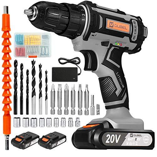 OUBEL Akkuschrauber 20V, Akku Bohrschrauber 42 Nm, 2x2000mAh Batterien, mit 80-teiligem Zubehör, 1-Stunden-Schnellladegerät, 3/8 Zoll Spannfutter, LED-Licht für Heimwerker-und Bohrwände, Holz, Metall