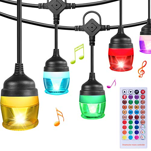 Sinvitron Color Changing Outdoor String Lights, Warm White & RGB Colored LED Café String Lights Outdoor, 37ft, Remote, 12 Shatterproof Bulbs, Waterproof Patio String Lights for Christmas Café Backyard