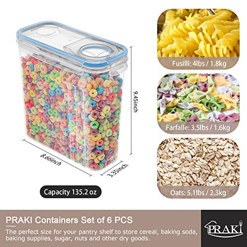 Cereal Pantry Food Storage Containers, PRAKI 5PCS BPA-Free Plastic Canister Set with Lids, Kitchen Organization and Storage, Perfect for Sugar, Flour, Baking Supplies, with Lables