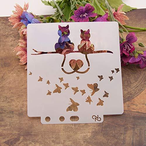 Plantillas para estarcir con diseño de gato, para álbumes de recortes y manualidades