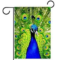 ガーデンサイン庭の装飾屋外バナー垂直旗動物の世界クリアエレガントな孔雀グリーン オールシーズンダブルレイヤー