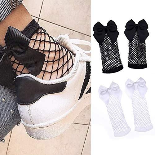 CheeseandU 2Pairs Women Fishnet Socks, Soft Fashion Sexy Mesh Lace Fishnet Short Ankle Socks with Bowknot, White+Black
