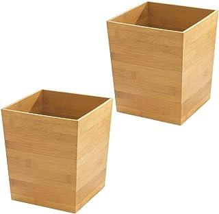 mDesign Poubelle 'bambou' carré - idéal comme poubelle ou corbeille à papier - plastique durable - pour cuisine, salle de ...