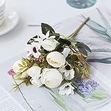 ASDGSDS Flores Artificiales, 1 Bunch Artificial Flowers Small Tea Rose Vases for Home Decor Wedding Decorative Leaves Needlework Ornamental Flowerpot,White