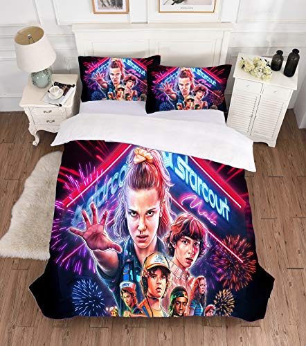 XCMMK Stranger Things Movie poster duvet cover sets single bed 135 * 200cm Bedding Set Microfiber Quilt Cover Sets with 1 Zipper Closure Quilt Cover and 1 Pillowcases
