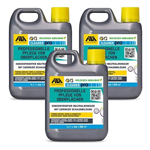FILA Cleaner 3x 1l neutrales Reinigungskonzentrat für Marmor, Naturstein, Terrakotta, Cotto, Holz, Laminat 1 l. für bis zu 1500 qm
