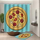 ZZZdz Leckere Pizza. Duschvorhang: 180X180Cm. Badezimmerteppich: 40X60Cm. Duschvorhang Bodenmatte Set Kombination Bodenmatte rutschfeste Türmatte Teppich.