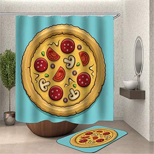 SLN Leckere Pizza. Duschvorhang: 180X180 cm. Matten: 40X60 cm. Wasserdicht. Schnell Trocknend. Mit Haken. Badezimmer-Kombinationsvorhangset