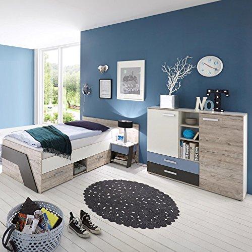 Jugendzimmer Set LEEDS-10 mit Kommode - Sandeiche Nb. / weiß/Lava/Denim - Made in Germany