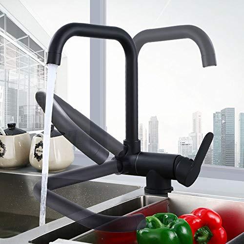 Grifo de cocina monomando para fregadero giratorio 360°, para cocina, agua fría, agua caliente, color negro y cobre