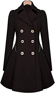 BOZEVON Women's Coat - Double-Breasted Winter Warm Jacket Slim Fit Outwear