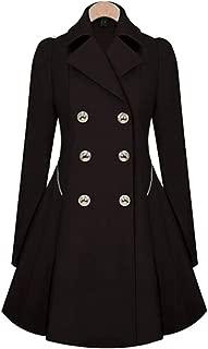 KINDOYO Women's Windbreaker Coat - Double Breasted Winter Warm Jacket Slim Fit Outwear