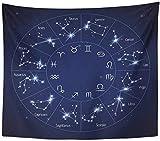 QIAO Tapiz Tejido de Poli¨¦ster Estampado para el hogar Zodiaco Constelaci¨®n Mapa con Leo Virgo Escorpio Libra Acuario Sagitario Tapiz para Colgar en la Pared para el Dormitorio de la Sala de Estar
