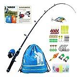 Sougayilang Enfants Canne à pêche avec Moulinet Spincast Canne à pêche télescopique Kits complets pour garçons, Filles et Adultes - Blue