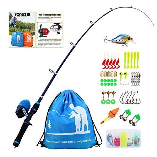 Sougayilang Enfants Canne à pêche avec Moulinet Spincast Canne à pêche télescopique Kits complets pour...