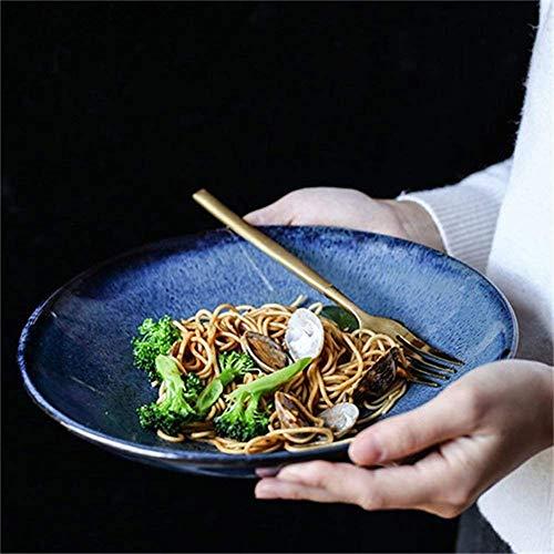 WEHOLY Cena 9.5 Pulgadas Azul Retro Estilo japonés Tazón de cerámica Hogar Alta Capacidad Ensalada de Frutas Tazón Porcelana Vajilla Tazón de Fideos Accesorios de Cocina