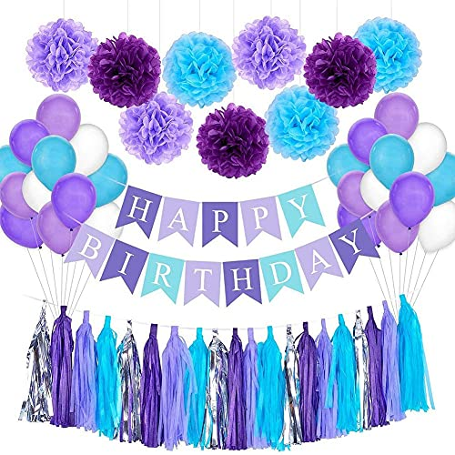 SKSNB Balloon Birthday Party Decoration,54Pcs Colorful Birthday Decorations,Purple Happy Birthday Banner with 24 Balloons,Paper Tassel,Pom Poms Flowers,Paper Garland for Birthday Wedding Decor Party