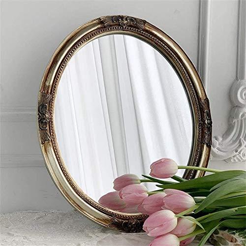 WWJ Espejo de Pared Decorativo Vintage, trae Soporte Material de Resina Shabby Chic Decoración para el hogar Tocador Tallado Retro Espejo Decorativo Espejo de tocador Ovalado