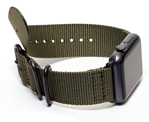 Carterjett 42mm 44mm XXL Compatible with Apple Watch Band Nylon Replacement iWatch Band XL Olive Sport Strap Extra Large Military-Style Hardware for iWatch Series 5 4 3 2 1 (42 44 XXL Army Green) 4