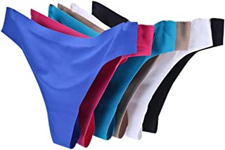 Womens Seamless Thongs Invisible Soft Ice Silk Panty Low Waist Underwear Pack of 6