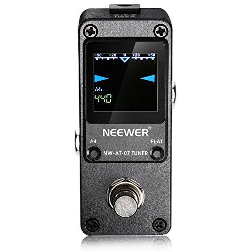 Neewer Mini Afinador Cromático Pedal Guitarra True Bypass con Pantalla de LED Luminosa Visible para Guitarra Electrónica y Bajo Super Rápido y Preciso, Negro