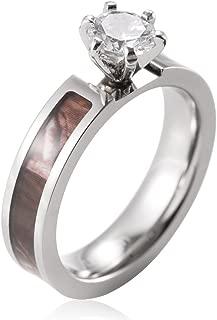 SHARDON Women's 5mm Titanium Brown Tree Camo Wedding Ring with Prong Setting White Round CZ Stone