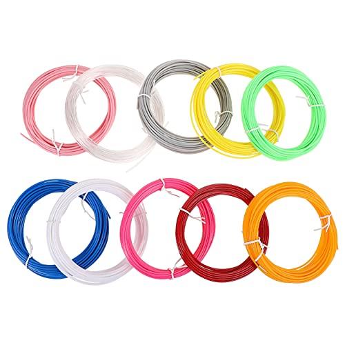 NUOBESTY 10 Unidades de Filamento de Impresora 3D 1. 75MM Filamento de Pluma 3D Alta Temperatura Cable de Un Color Suministros para Impresión 3D (Color Aleatorio)
