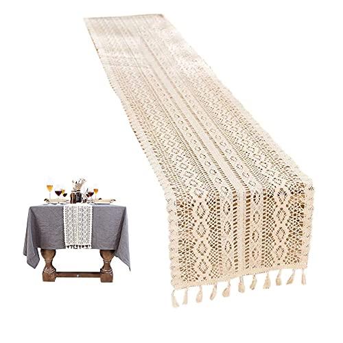Camino de mesa de macramé,Camino de mesa de encaje con borla,estilo bohemio,malla hueca,con borlas,para decoración bohemia de bodas y casas rurales,decoración de mesa
