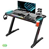 EUREKA ERGONOMIC Bureau Gaming Z1S Bureau Gamer (Classique) Bureau pour Gaming PC Informatique Table Desk avec LED Bleu Tapis Souris Porte Gobelet Support Casque Noir 44.5''