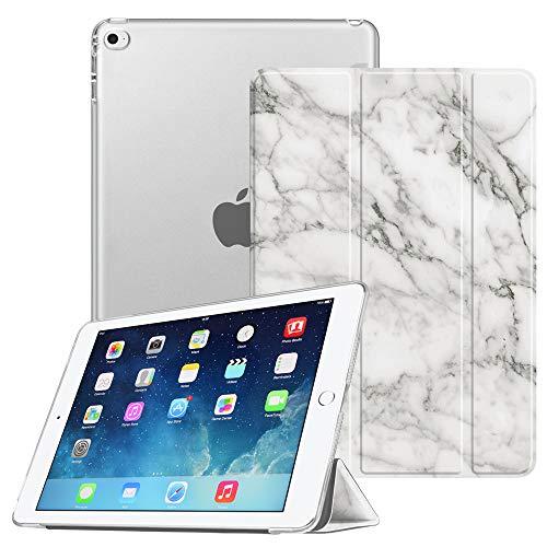 Fintie SlimShell Hülle Kompatibel mit iPad Mini 4 - durchsichtiger Rückseite Abdeckung Schutzhülle Cover Hülle mit Auto Schlaf/Wach Funktion, Marmor Weiß