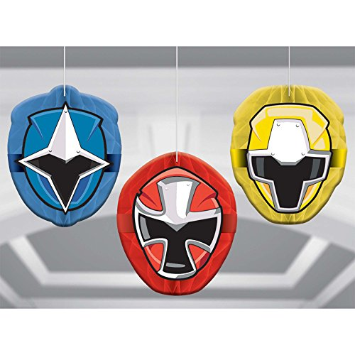 Amscan Power Rangers Ninja Steel Honeycomb Decoration, 18 Ct, MULTI COLOR, Model: 291723