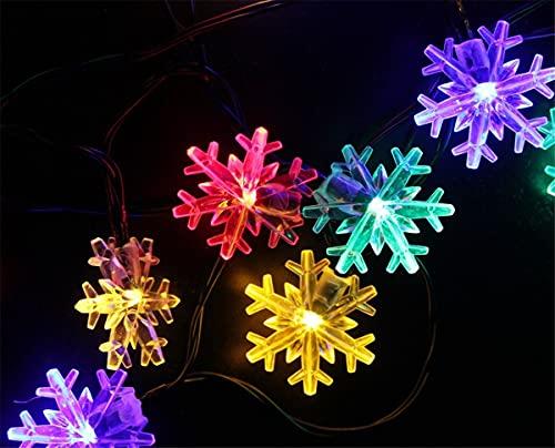 PANAX Catena luminosa a energia solare, 30 luci a LED a forma di fiocco di neve, decorazione natalizia per giardini, piante, alberi, balconi, albero di Natale, terrazza, cortile, feste