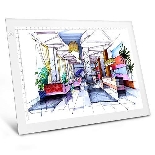 Cuaderno de luz LED A4 de brillo regulable para dibujos, para dibujar, dibujar, dibujar, dibujar, dibujar, animación, dibujo (blanco)