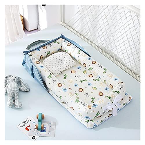 Cuna para bebés Cama para niños Cama portátil Tela de algodón Cama de bebé Cama de nido de bebé Cama portátil Cama de viaje Cama suave para la piel Cuidado Bebé Piel tierna ( Color : Blue Animal )
