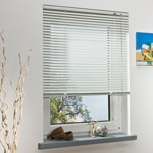 OBI Alu-Jalousie Burgos Aluminiumjalousie Jalousette Innenjalousie Fenstervorhang Aluminiumlamellen   Weiß   100 x 160 cm