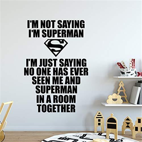 yaonuli Hero Superman Etiqueta de la Pared Habitación de Apliques de Vinilo Transferencia gráfica Decoración de Arte Familiar Habitación Infantil Calcomanía Cartel 40X28 cm