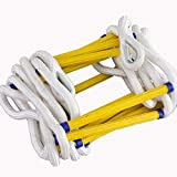 JF-NP Soft Rope Ladder - Fire Escape Ladder with 2 Hooks, Household Non-Slip Wear Emergency Escape Rope Ladder - Easy to Deploy (Size : 20m/66ft)
