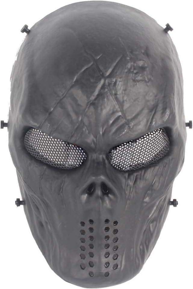 YFjyo Máscara de Cara Completa de Airsoft con protección Ocular de Malla metálica, Cosplay al Aire Libre, Masquerade Ball, Fiesta, BB Gun, Máscara de Esqueleto de Calavera de Halloween