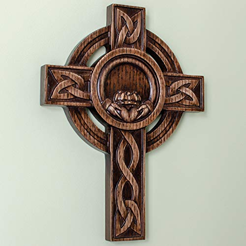 Claddagh - Wooden Celtic Wall Cross - Handmade Irish Home Decor (12 Inch)